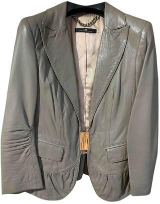 Elisabetta Franchi Khaki Leather Jacket for Women