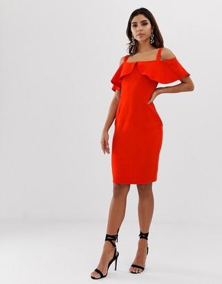Vesper frill cold shoulder pencil dress-Red