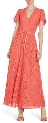 ML Monique Lhuillier V-Neck Lace Maxi Dress