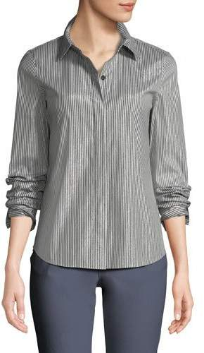 Lafayette 148 New York Phaedra Captivating Stripe Shirting Blouse