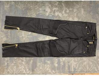 Balmain For H&m Black Leather Trousers