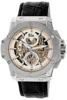 Reign Commodus Automatic Skeleton Dial Leather Watch, 48mm