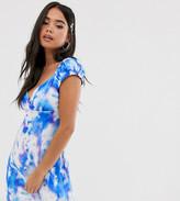 Reclaimed Vintage inspired tea wrap front dress in tie dye print