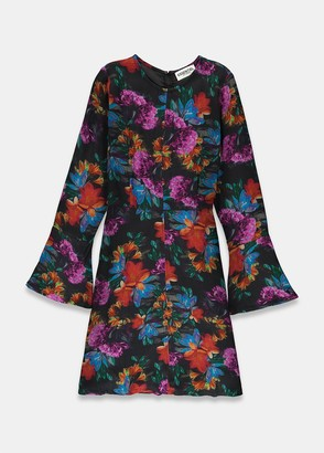 Essentiel Antwerp Taurent fitted floral dress - viscose | black | Orange and Purple | UK8 - Black/Black