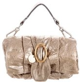 Chloé Pleated Metallic Leather Clutch