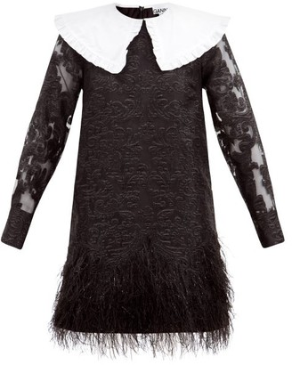 Ganni Feather-trimmed Baroque-brocade Mini Dress - Black