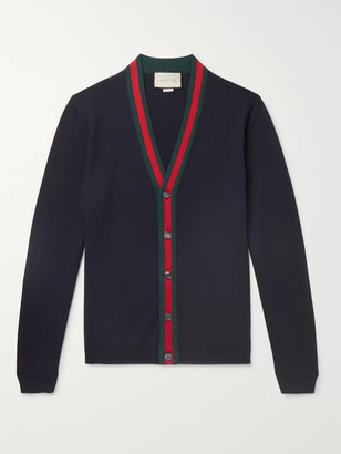 Gucci Slim-Fit Webbing-Trimmed Wool Cardigan