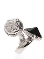 Versace Black Swarovski Metal Ring