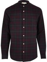 River Island MensPurple casual check grandad shirt