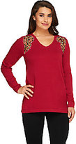 Bob Mackie Bob Mackie's Long Sleeve Embellished Sweater with V-Neckline