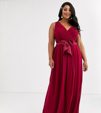 TFNC Plus Bridesmaid maxi dress with bow back in mulberry