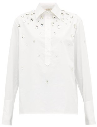 Christopher Kane Crystal-embellished Cotton-poplin Shirt - Womens - White