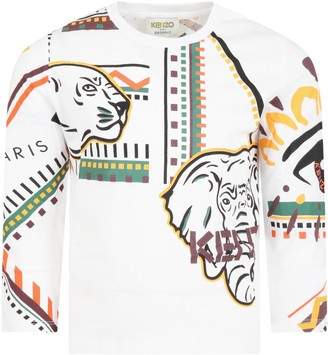 Kenzo Kids White T-shirt For Boy With Animals