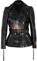 Alexander McQueen Embroidered Painted Leather Biker Jacket - Black