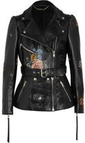 Alexander McQueen Embroidered Painted Leather Biker Jacket - Black
