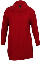 Alfani Womens Plus Metallic Long Sleeves Pullover Sweater Red