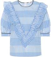 Ganni Charron gingham cotton-blend top
