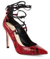 Isa Tapia Lace-Up Leather Stiletto Pumps