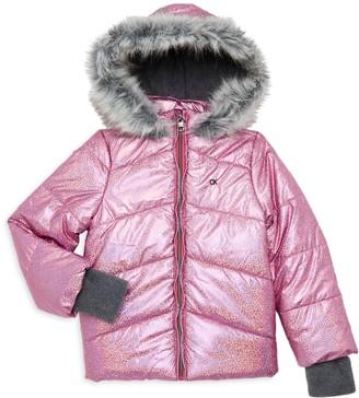 Calvin Klein Jeans Little Girl's Faux Fur-Trim Metallic Chevron Quilt Coat