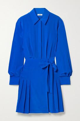 Jason Wu Pleated Silk Crepe De Chine Mini Shirt Dress - Bright blue