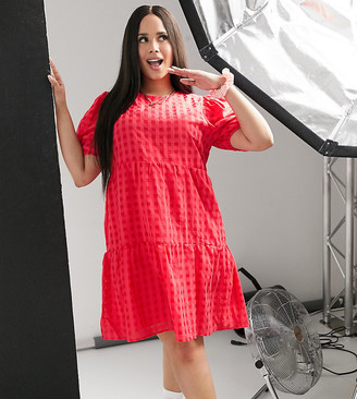 Glamorous Curve tiered smock dress in check