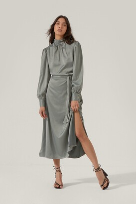 Nasty Gal Womens Sleek Your Heart Belted Midi Dress - Sage