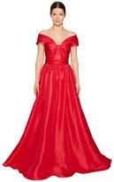 Marchesa Silk Off Shoulder Sculptural Ball Gown Women's Dress