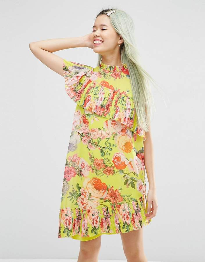 Asos Design Pleated Shift mini dress in Bright Acid Floral