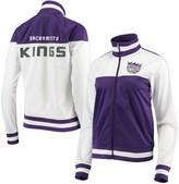 G Iii Women's G-III 4Her by Carl Banks White/Purple Sacramento Kings Tip Off Rhinestone Tricot Full-Zip Track Jacket