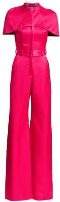 Brandon Maxwell Cape-Sleeve Virgin Wool & Silk Jumpsuit