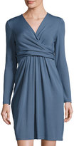 Lafayette 148 New York Long-Sleeve Faux-Wrap Dress, Blue Storm