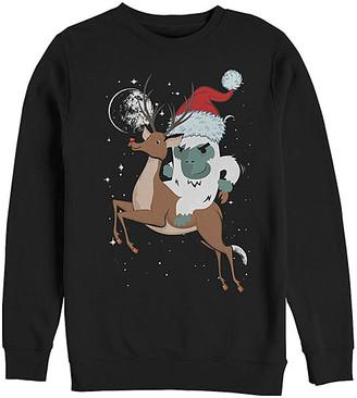 Fifth Sun Men's Sweatshirts and Hoodies BLACK - Black Yeti Reindeer Sweatshirt - Men