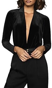 Reiss Rosalba Plunging Velvet Bodysuit