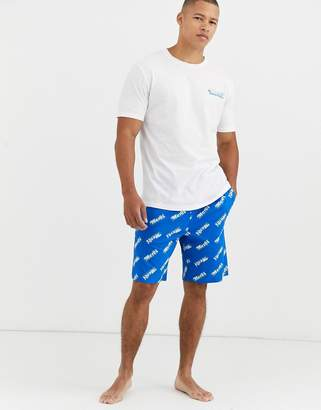 Asos Design DESIGN lounge pyjama shorts and tshirt set with merci slogan-Navy