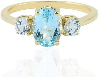 Artisan 18Kt Yellow Gold Blue Topaz White Sapphire Band Ring Handmade Jewelry