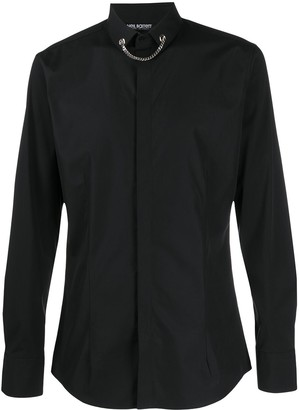 Neil Barrett Tuxedo shirt with necklace