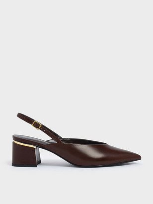 Charles & Keith V-Cut Block Heel Textured Slingback Pumps