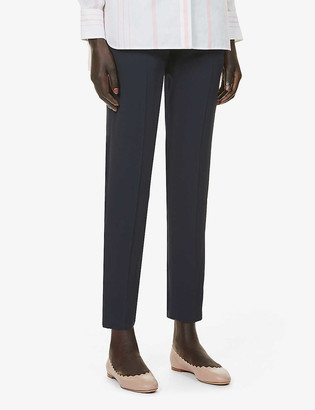 Chloé Slim-fit high-rise crepe trousers