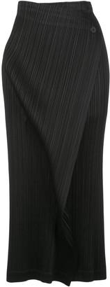 Pleats Please Issey Miyake Pleated Midi Wrap Skirt