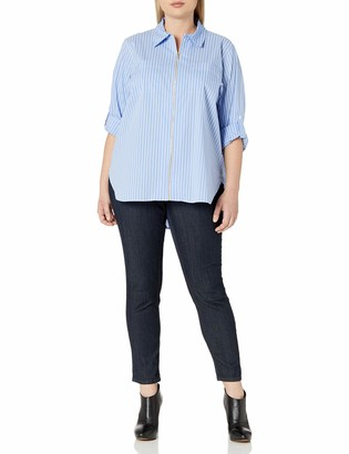 Calvin Klein Women's Plus Size Zip Front Striped Blouse