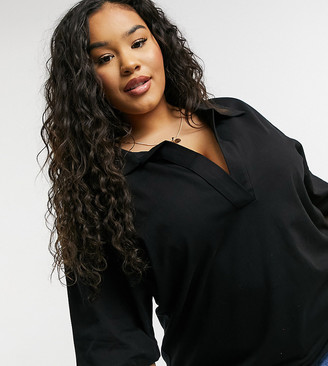 ASOS DESIGN Curve oversized polo top with long sleeves in black