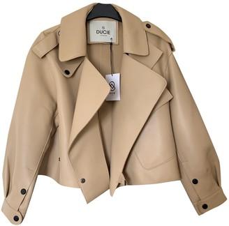 Ducie Beige Leather Jacket for Women