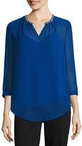 Liz Claiborne 3/4-Sleeve Embellished V- Neck Blouse