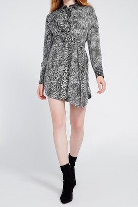 Alice + Olivia Jodi Collared Tie Shirt Dress