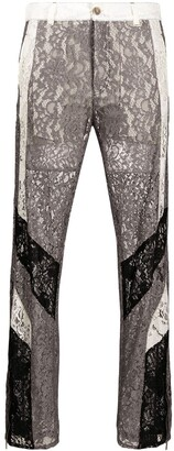 Koché Lace Trimmed Cropped Trousers