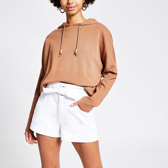 River Island White paperbag tie waist denim shorts