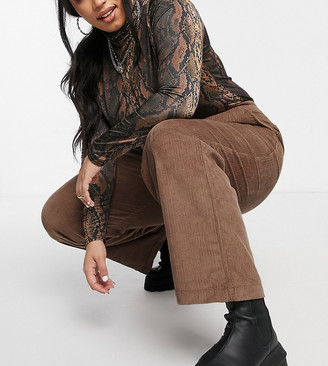 Collusion Plus Exclusive cord pants co-ord in mocha