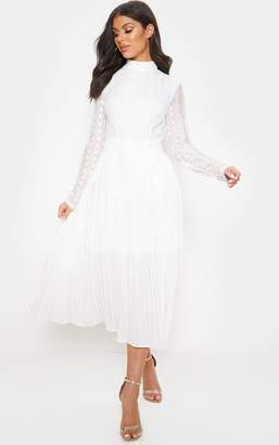 PrettyLittleThing White Lace Top Pleated Midi Dress