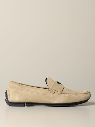 Emporio Armani Loafers Drive Moccasin In Suede With Logo