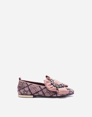 Dolce & Gabbana Velvet Jacquard Slipper With Bejeweled Bow